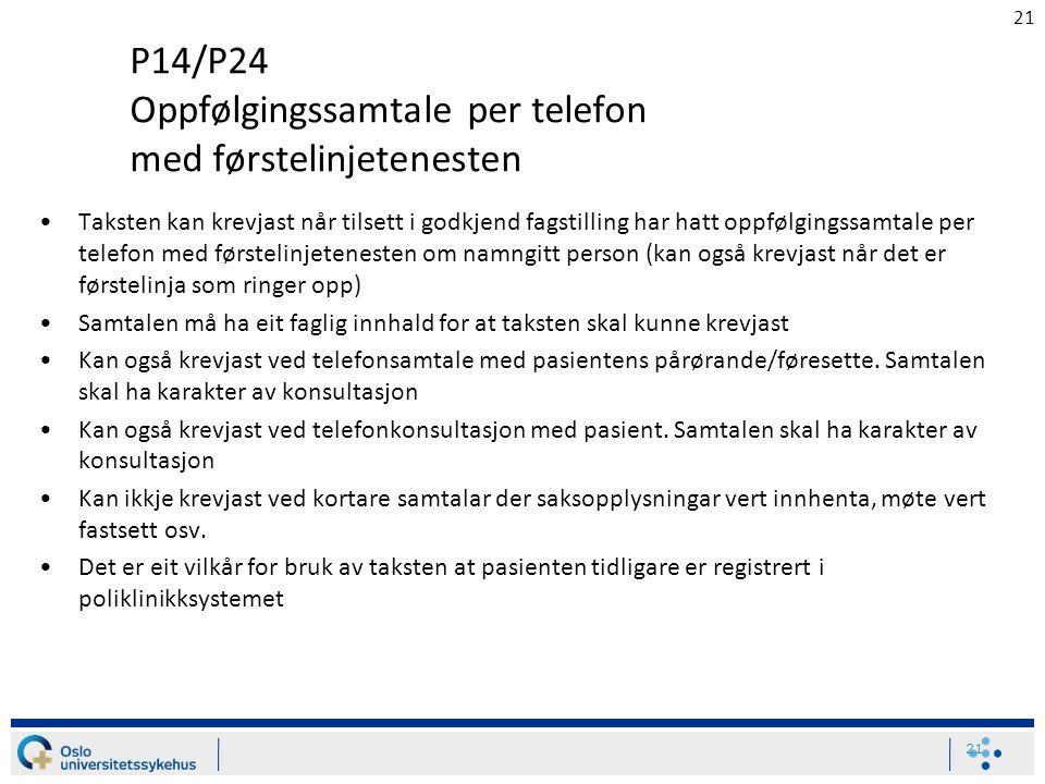 21 P14/P24 Oppfølgingssamtale per telefon med førstelinjetenesten Taksten kan krevjast når tilsett i godkjend fagstilling har hatt oppfølgingssamtale