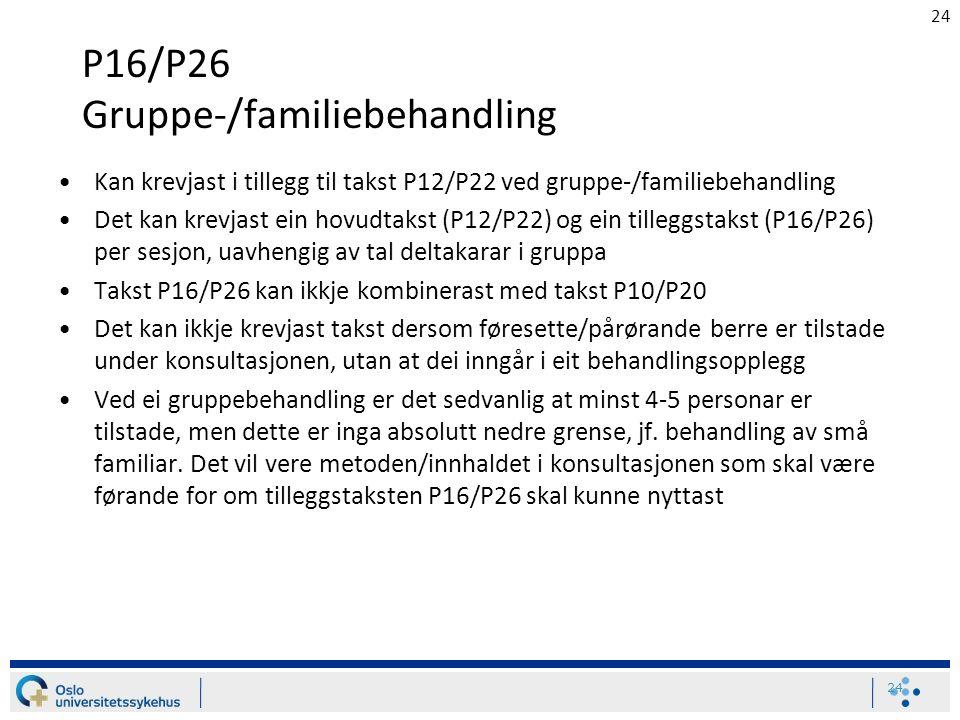 24 P16/P26 Gruppe-/familiebehandling Kan krevjast i tillegg til takst P12/P22 ved gruppe-/familiebehandling Det kan krevjast ein hovudtakst (P12/P22) og ein tilleggstakst (P16/P26) per sesjon, uavhengig av tal deltakarar i gruppa Takst P16/P26 kan ikkje kombinerast med takst P10/P20 Det kan ikkje krevjast takst dersom føresette/pårørande berre er tilstade under konsultasjonen, utan at dei inngår i eit behandlingsopplegg Ved ei gruppebehandling er det sedvanlig at minst 4-5 personar er tilstade, men dette er inga absolutt nedre grense, jf.