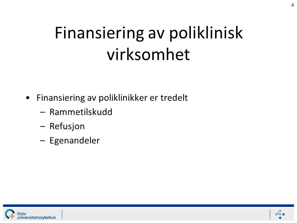 4 Finansiering av poliklinisk virksomhet Finansiering av poliklinikker er tredelt –Rammetilskudd –Refusjon –Egenandeler 4