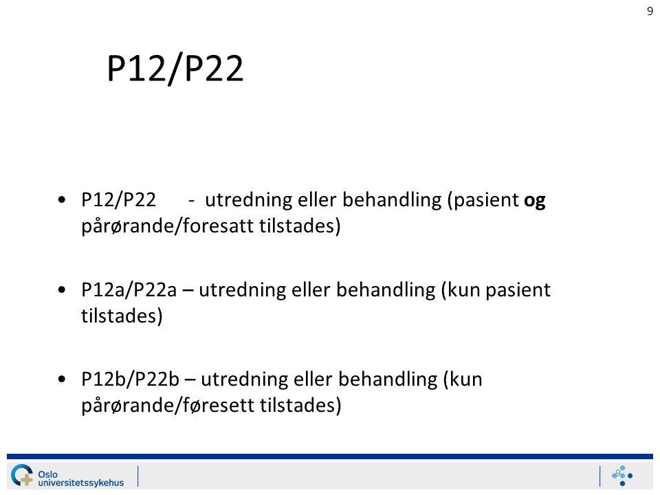 9 P12/P22 P12/P22- utredning eller behandling (pasient og pårørande/foresatt tilstades) P12a/P22a – utredning eller behandling (kun pasient tilstades) P12b/P22b – utredning eller behandling (kun pårørande/føresett tilstades) 9