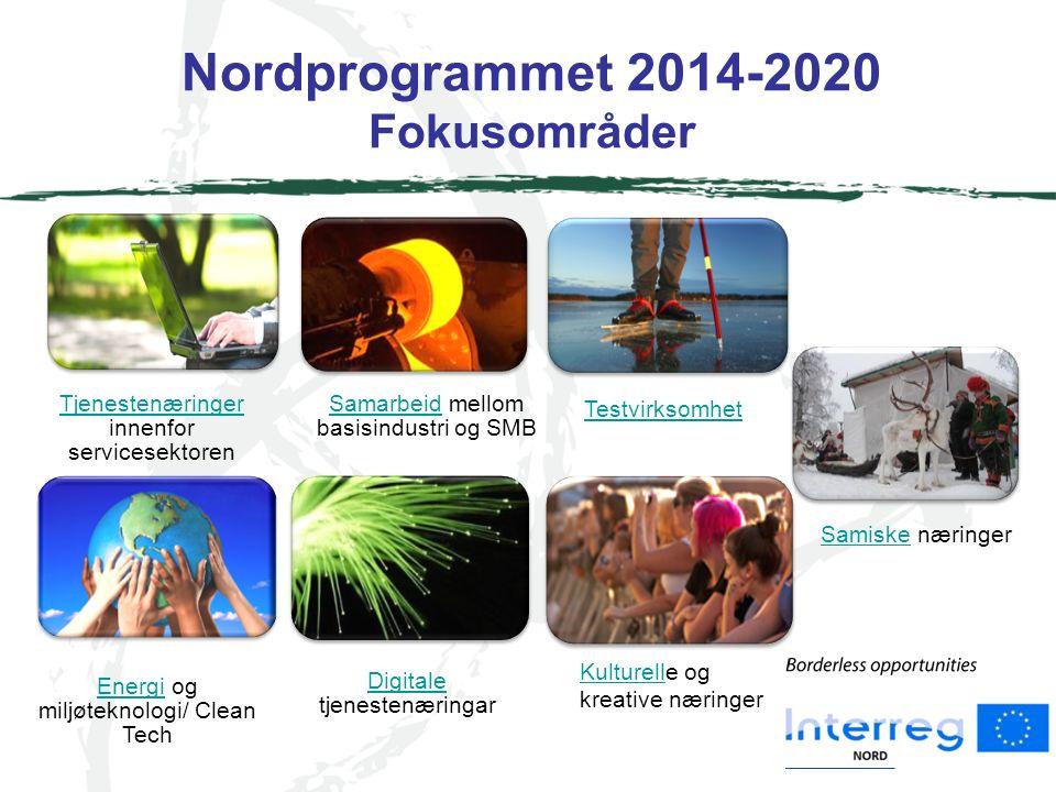 Nordprogrammet 2014-2020 Fokusområder Tjenestenæringer Tjenestenæringer innenfor servicesektoren SamarbeidSamarbeid mellom basisindustri og SMB Testvirksomhet EnergiEnergi og miljøteknologi/ Clean Tech Digitale Digitale tjenestenæringar KulturellKulturelle og kreative næringer SamiskeSamiske næringer