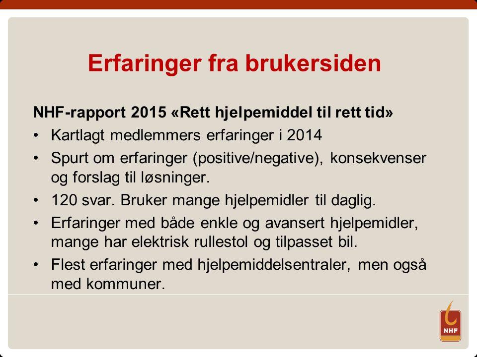Erfaringer fra brukersiden NHF-rapport 2015 «Rett hjelpemiddel til rett tid» Kartlagt medlemmers erfaringer i 2014 Spurt om erfaringer (positive/negat