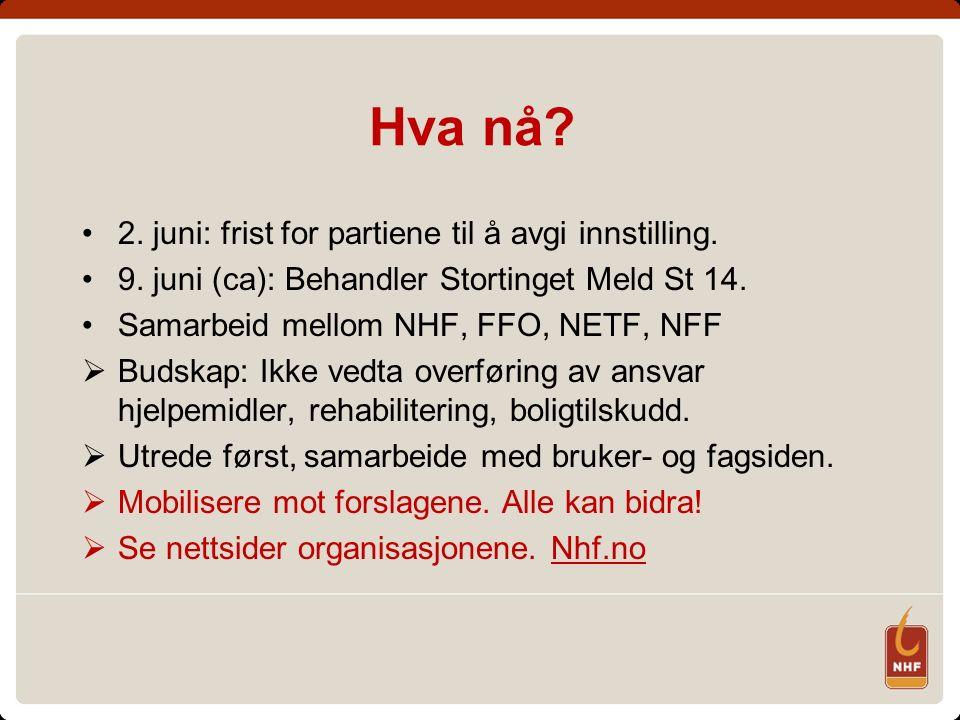 Hva nå? 2. juni: frist for partiene til å avgi innstilling. 9. juni (ca): Behandler Stortinget Meld St 14. Samarbeid mellom NHF, FFO, NETF, NFF  Buds