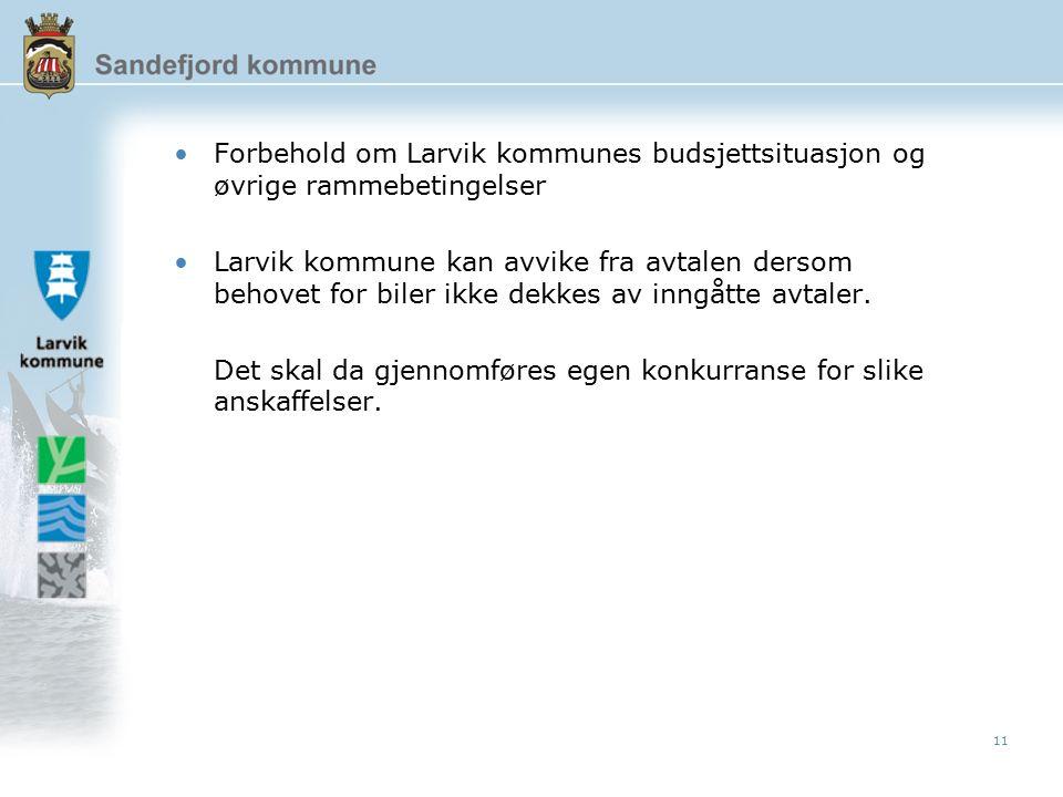 11 Forbehold om Larvik kommunes budsjettsituasjon og øvrige rammebetingelser Larvik kommune kan avvike fra avtalen dersom behovet for biler ikke dekkes av inngåtte avtaler.