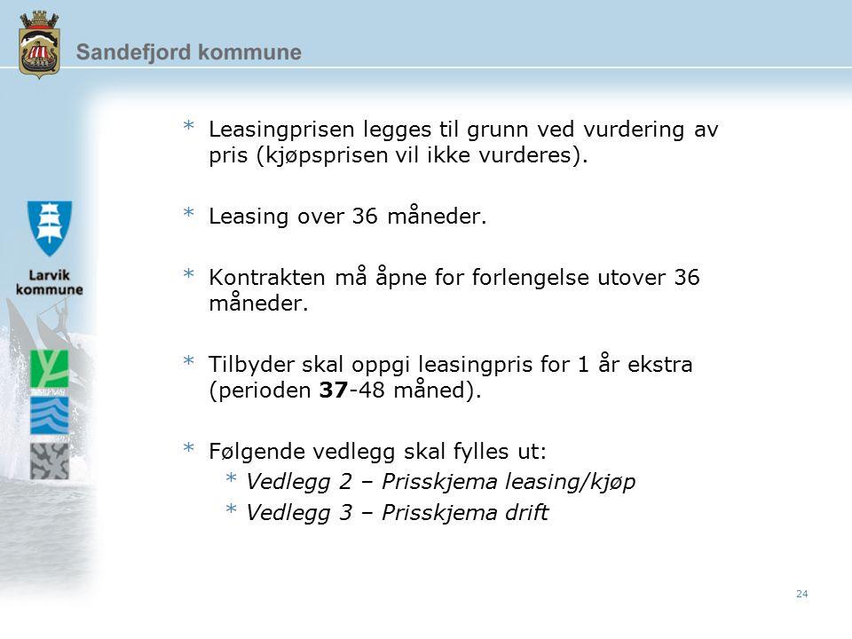 24 *Leasingprisen legges til grunn ved vurdering av pris (kjøpsprisen vil ikke vurderes).