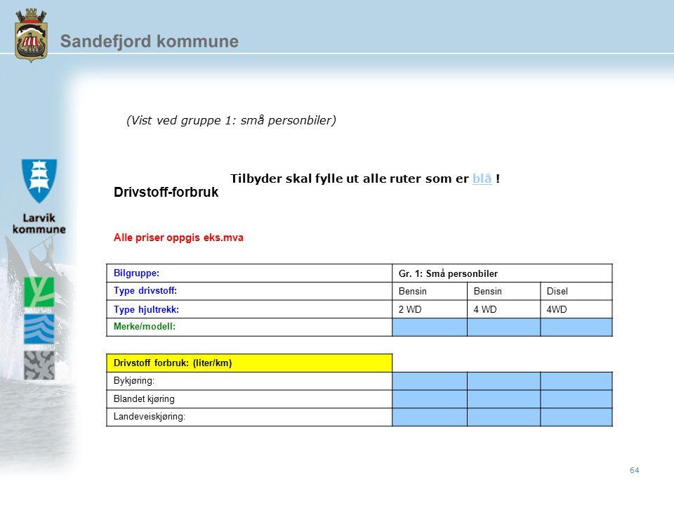 64 Drivstoff-forbruk Alle priser oppgis eks.mva Bilgruppe: Gr.