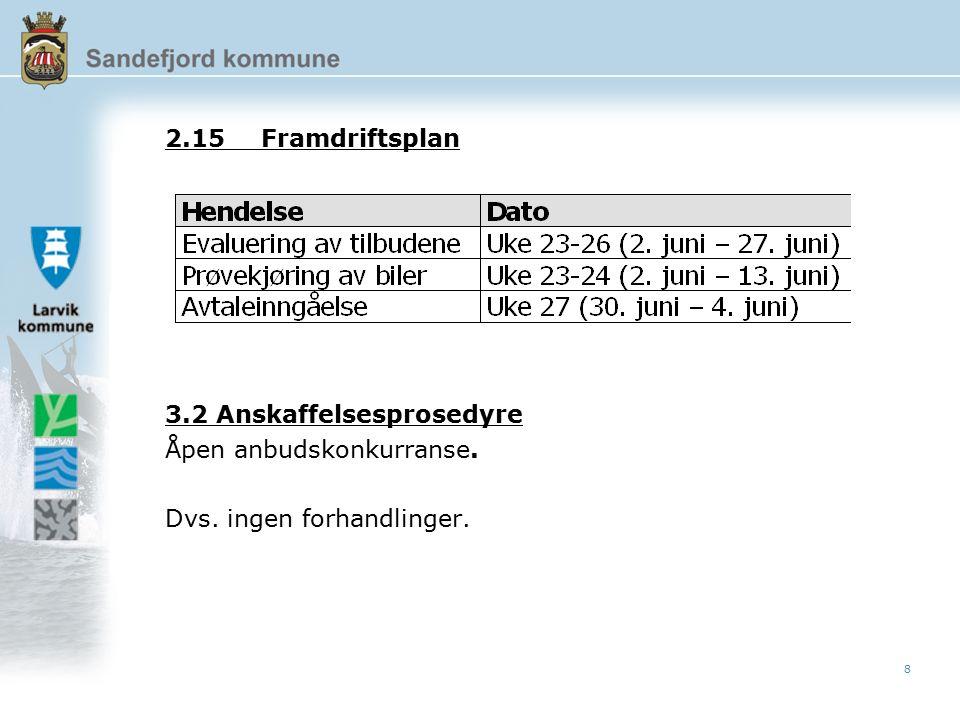 8 2.15Framdriftsplan 3.2 Anskaffelsesprosedyre Åpen anbudskonkurranse. Dvs. ingen forhandlinger.