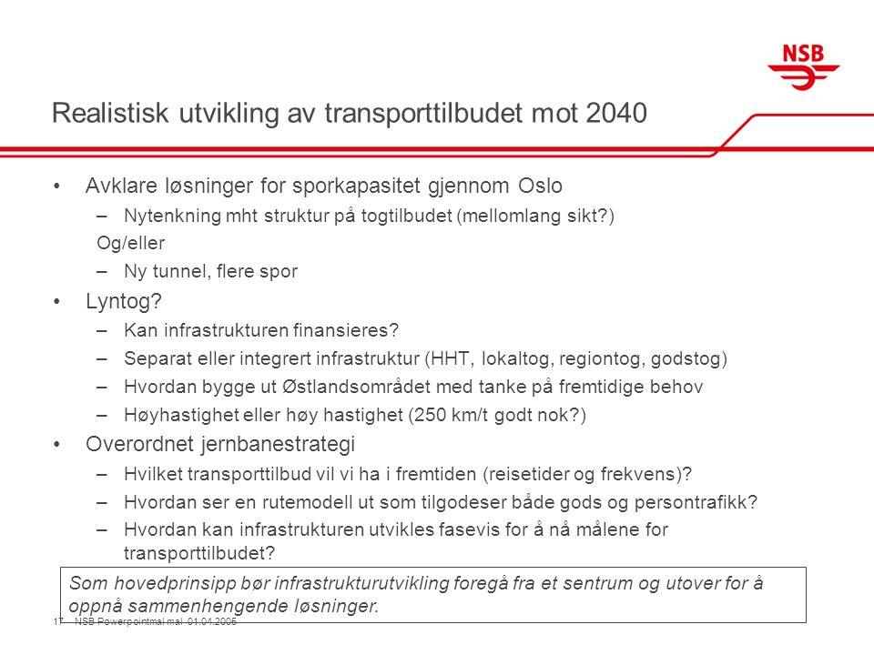Realistisk utvikling av transporttilbudet mot 2040 Avklare løsninger for sporkapasitet gjennom Oslo –Nytenkning mht struktur på togtilbudet (mellomlang sikt ) Og/eller –Ny tunnel, flere spor Lyntog.