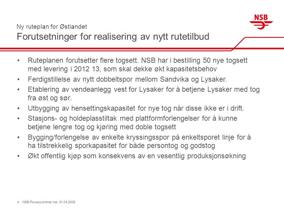 4 NSB Powerpointmal mal 01.04.2005 Ny ruteplan for Østlandet Forutsetninger for realisering av nytt rutetilbud Ruteplanen forutsetter flere togsett.