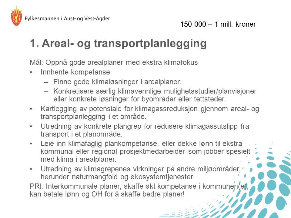 1. Areal- og transportplanlegging Mål: Oppnå gode arealplaner med ekstra klimafokus Innhente kompetanse –Finne gode klimaløsninger i arealplaner. –Kon