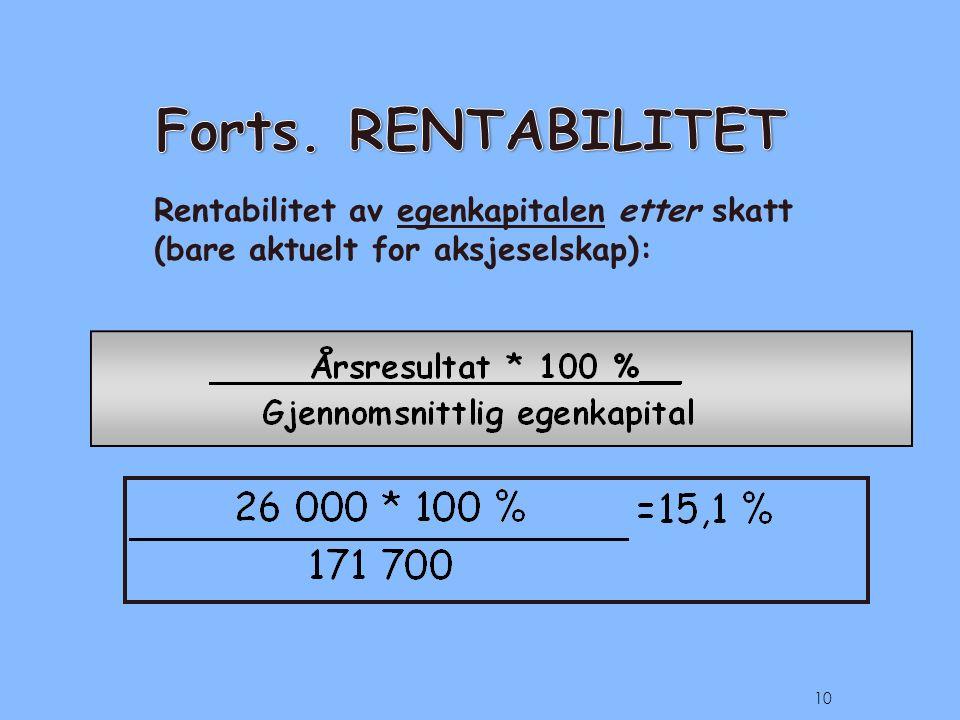 Rentabilitet av egenkapitalen etter skatt (bare aktuelt for aksjeselskap): 10