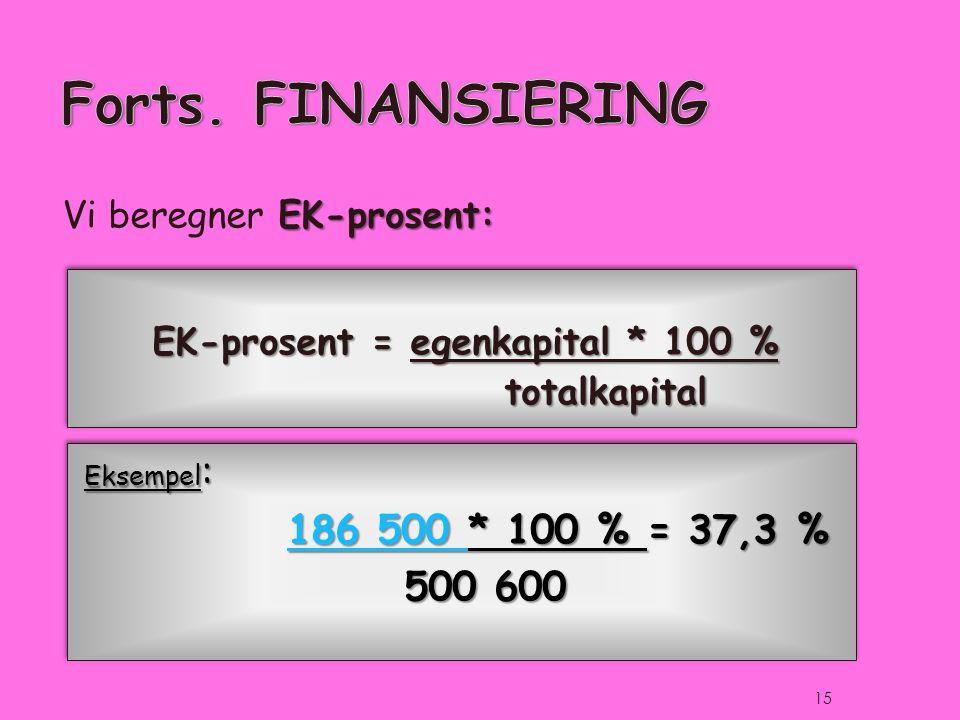 EK-prosent = egenkapital * 100 % totalkapital totalkapital EK-prosent: Vi beregner EK-prosent: Eksempel : 186 500 186 500 * 100 % = 37,3 % 186 500 500 600 Eksempel : 186 500 186 500 * 100 % = 37,3 % 186 500 500 600 15