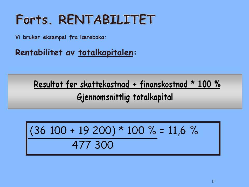 Vi bruker eksempel fra læreboka: Rentabilitet av totalkapitalen: 8