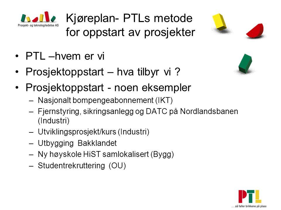 Kjøreplan- PTLs metode for oppstart av prosjekter PTL –hvem er vi Prosjektoppstart – hva tilbyr vi ? Prosjektoppstart - noen eksempler –Nasjonalt bomp