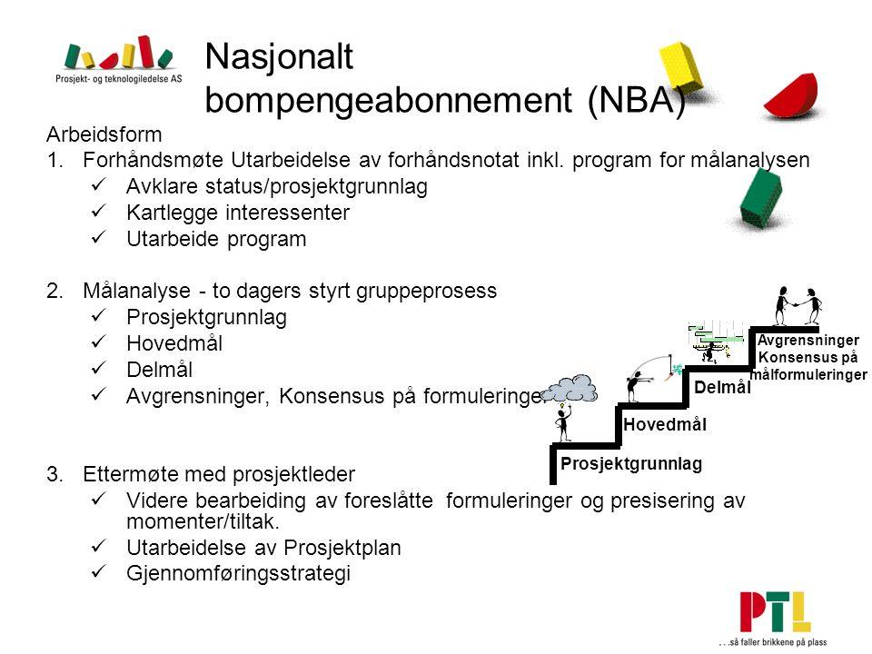 Nasjonalt bompengeabonnement (NBA) Arbeidsform 1.Forhåndsmøte Utarbeidelse av forhåndsnotat inkl. program for målanalysen Avklare status/prosjektgrunn