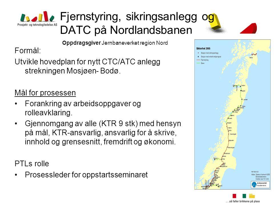 Fjernstyring, sikringsanlegg og DATC på Nordlandsbanen Oppdragsgiver Jernbaneverket region Nord Formål: Utvikle hovedplan for nytt CTC/ATC anlegg stre