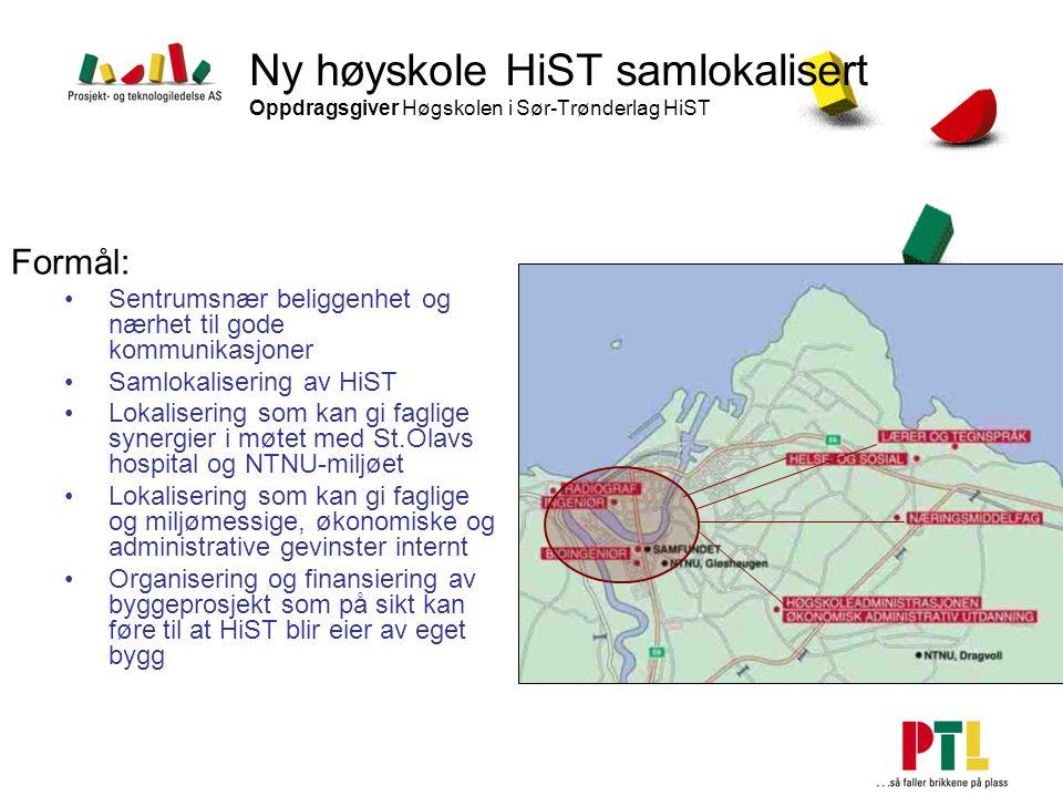 Ny høyskole HiST samlokalisert Oppdragsgiver Høgskolen i Sør-Trønderlag HiST Formål: Sentrumsnær beliggenhet og nærhet til gode kommunikasjoner Samlok