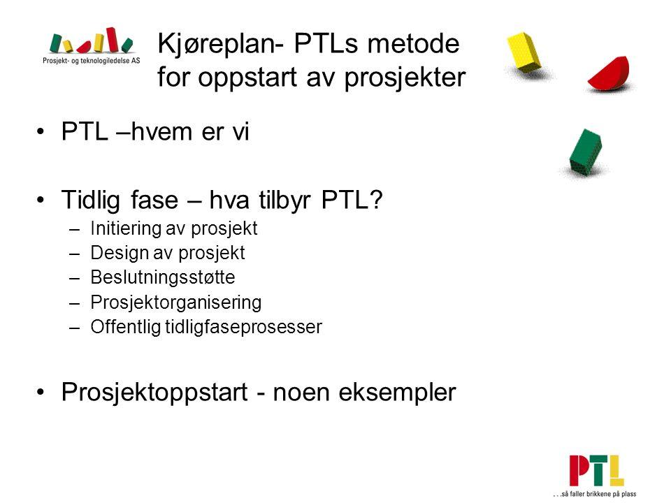 Kjøreplan- PTLs metode for oppstart av prosjekter PTL –hvem er vi Tidlig fase – hva tilbyr PTL? –Initiering av prosjekt –Design av prosjekt –Beslutnin