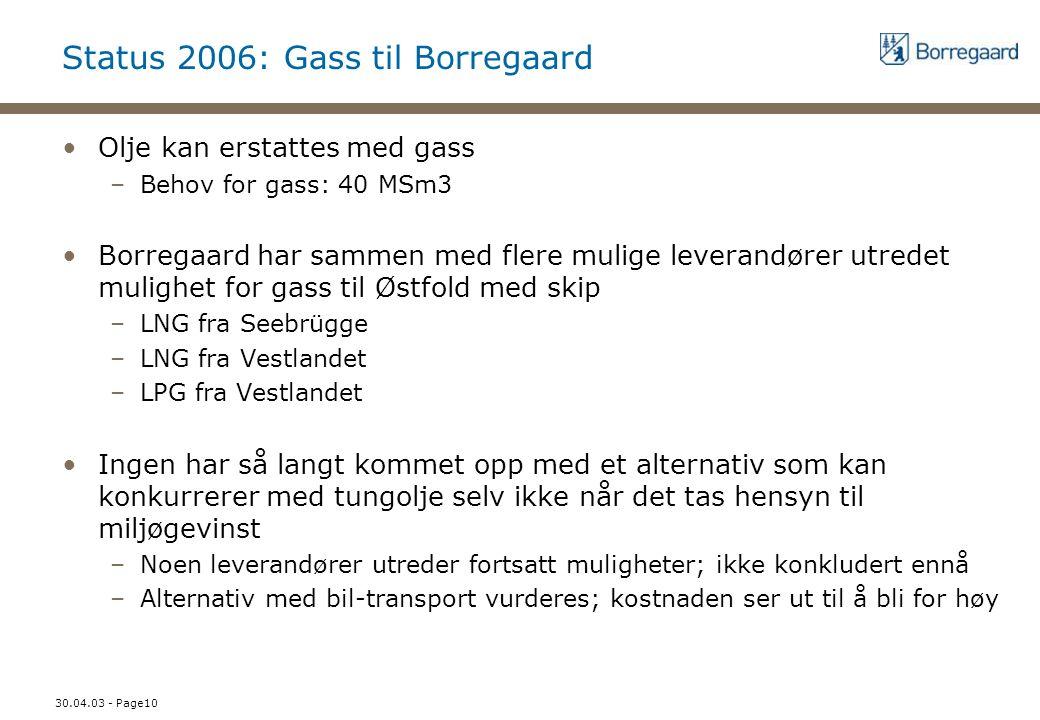 30.04.03 - Page10 Status 2006: Gass til Borregaard Olje kan erstattes med gass –Behov for gass: 40 MSm3 Borregaard har sammen med flere mulige leveran