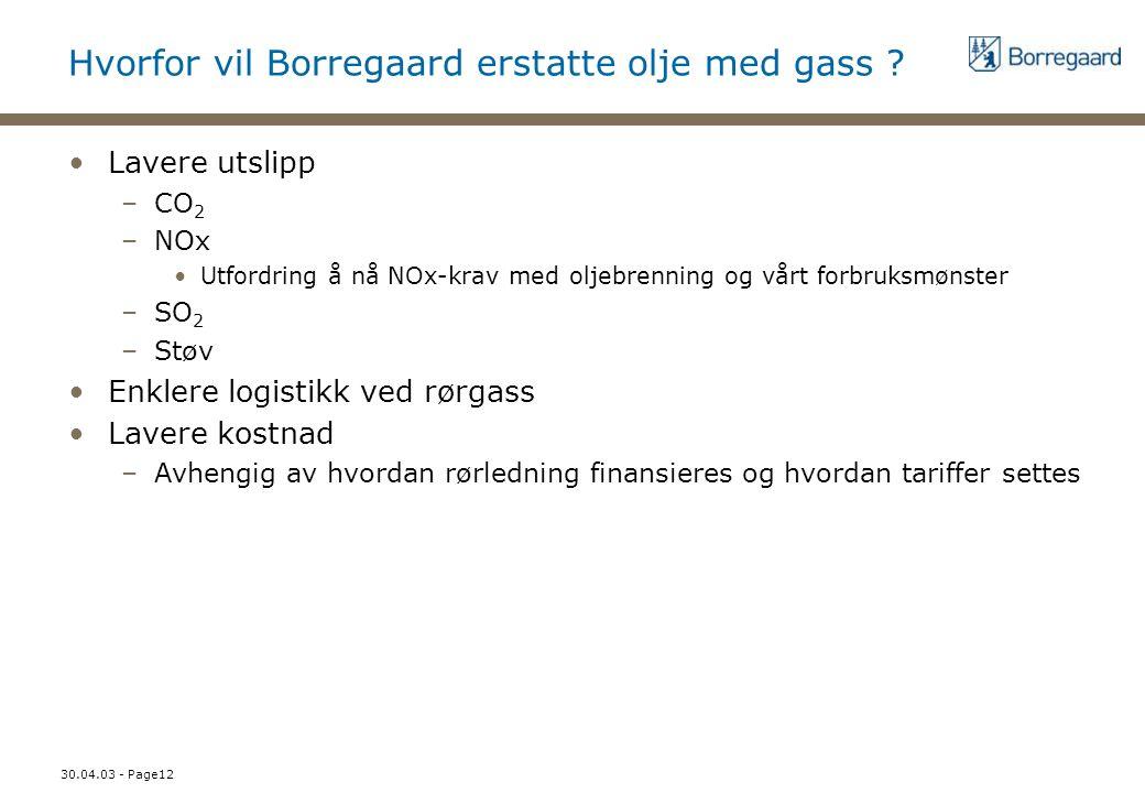 30.04.03 - Page12 Hvorfor vil Borregaard erstatte olje med gass ? Lavere utslipp –CO 2 –NOx Utfordring å nå NOx-krav med oljebrenning og vårt forbruks