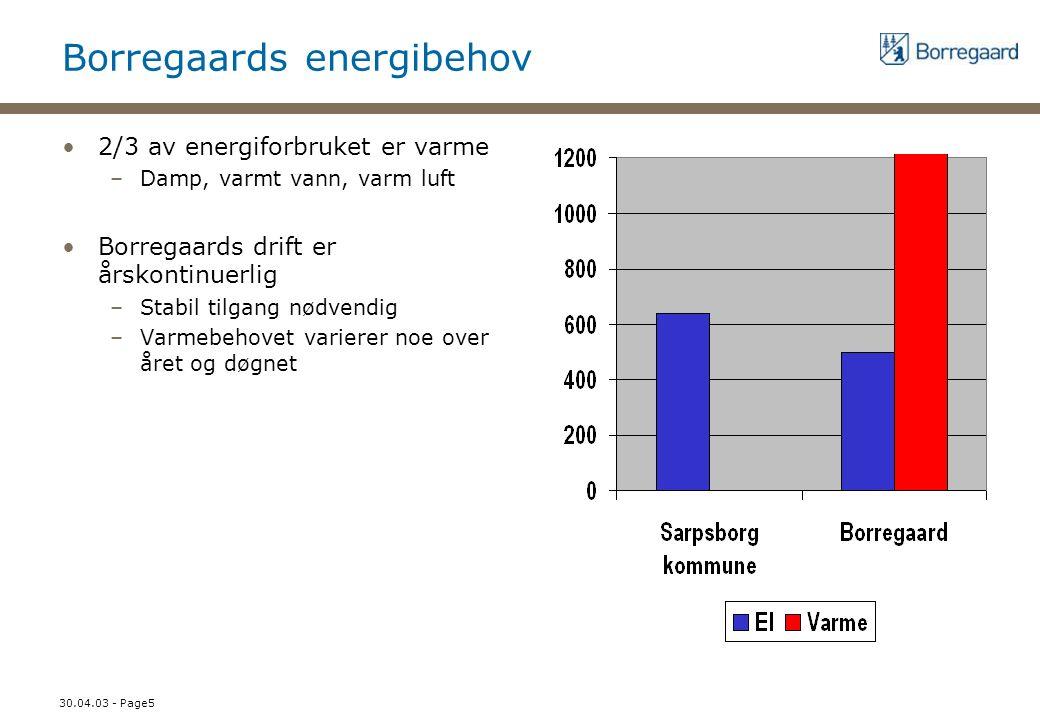 30.04.03 - Page5 Borregaards energibehov 2/3 av energiforbruket er varme –Damp, varmt vann, varm luft Borregaards drift er årskontinuerlig –Stabil til