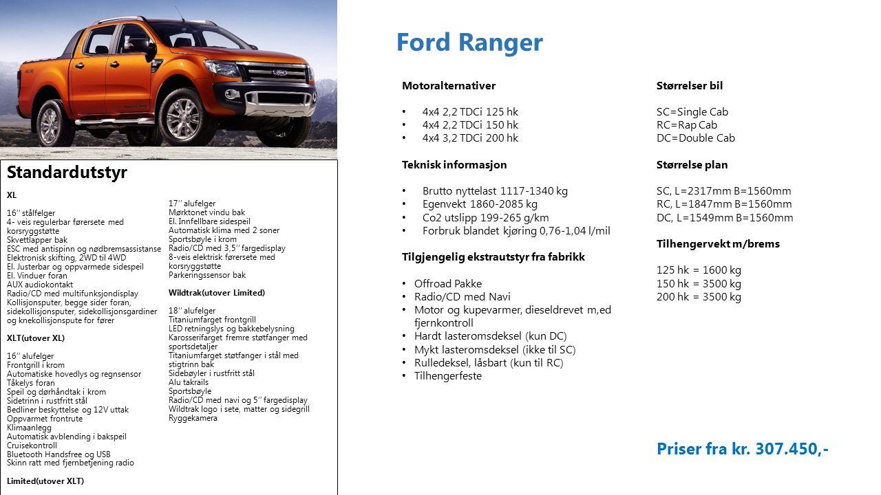 Ford Ranger Standardutstyr XL 16'' stålfelger 4- veis regulerbar førersete med korsryggstøtte Skvettlapper bak ESC med antispinn og nødbremsassistanse Elektronisk skifting, 2WD til 4WD El.