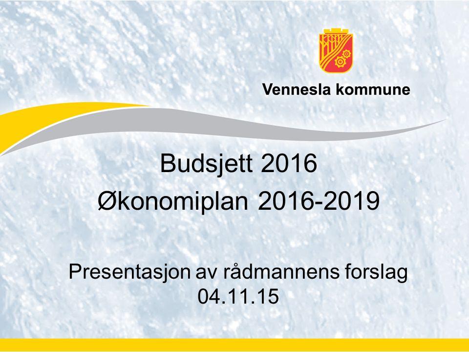 Budsjett 2016 Økonomiplan 2016-2019 Presentasjon av rådmannens forslag 04.11.15
