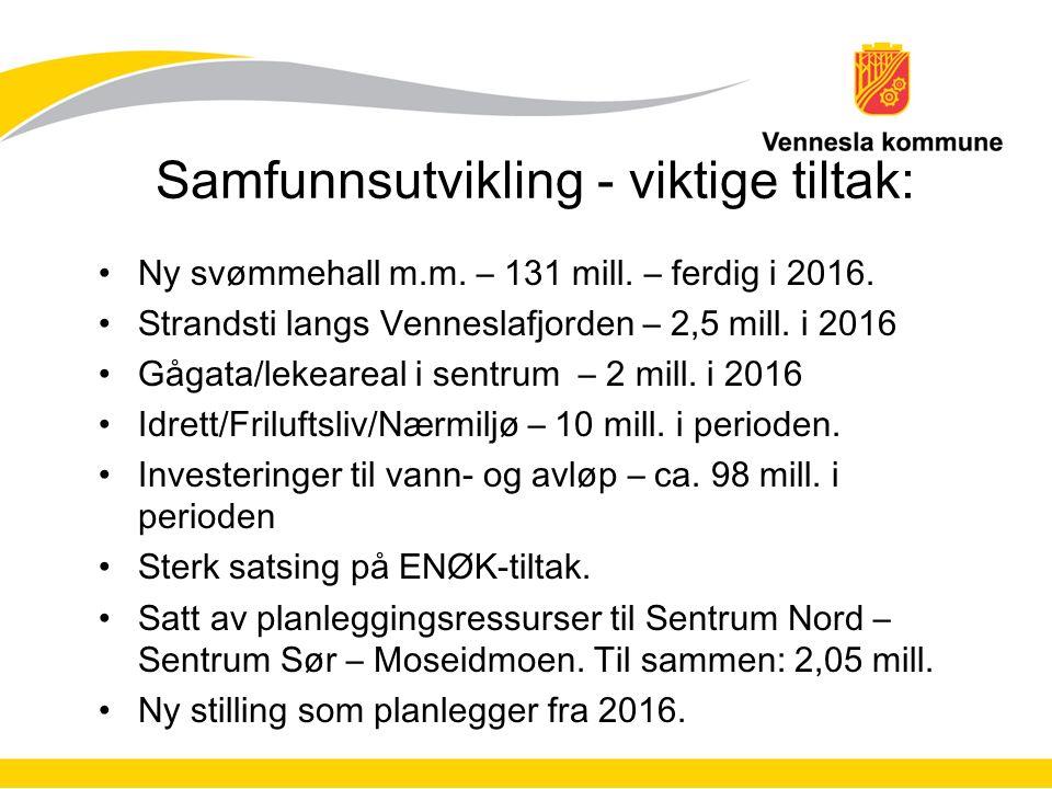 Samfunnsutvikling - viktige tiltak: Ny svømmehall m.m. – 131 mill. – ferdig i 2016. Strandsti langs Venneslafjorden – 2,5 mill. i 2016 Gågata/lekearea