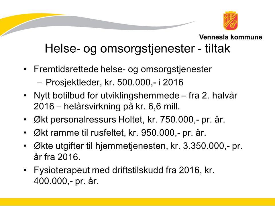 Helse- og omsorgstjenester - tiltak Fremtidsrettede helse- og omsorgstjenester –Prosjektleder, kr.