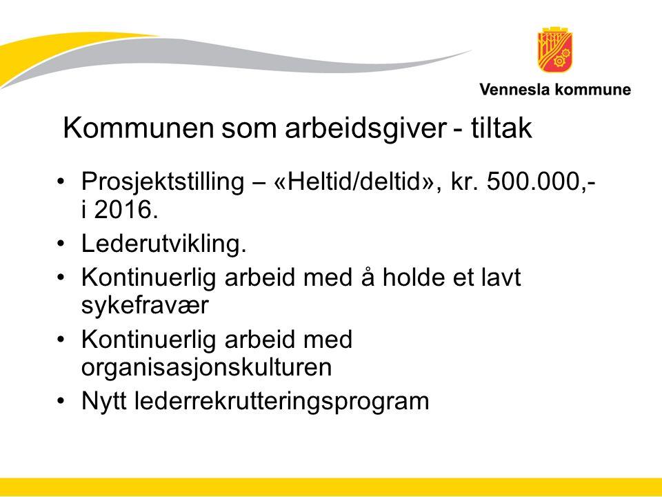 Kommunen som arbeidsgiver - tiltak Prosjektstilling – «Heltid/deltid», kr.