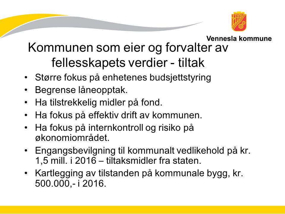 Kommunen som eier og forvalter av fellesskapets verdier - tiltak Større fokus på enhetenes budsjettstyring Begrense låneopptak.