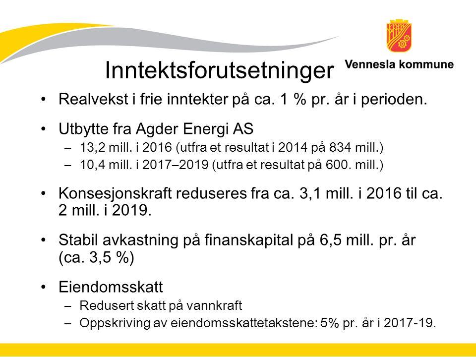 Inntektsforutsetninger Realvekst i frie inntekter på ca.