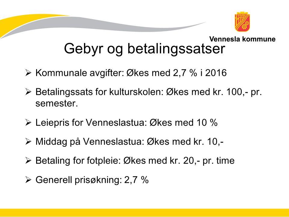Gebyr og betalingssatser  Kommunale avgifter: Økes med 2,7 % i 2016  Betalingssats for kulturskolen: Økes med kr. 100,- pr. semester.  Leiepris for