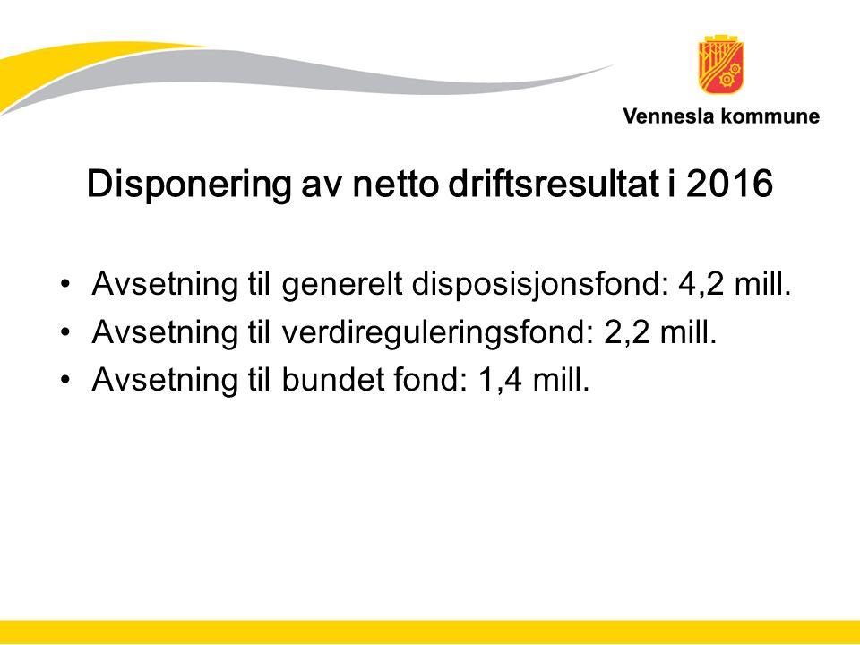 Disponering av netto driftsresultat i 2016 Avsetning til generelt disposisjonsfond: 4,2 mill.