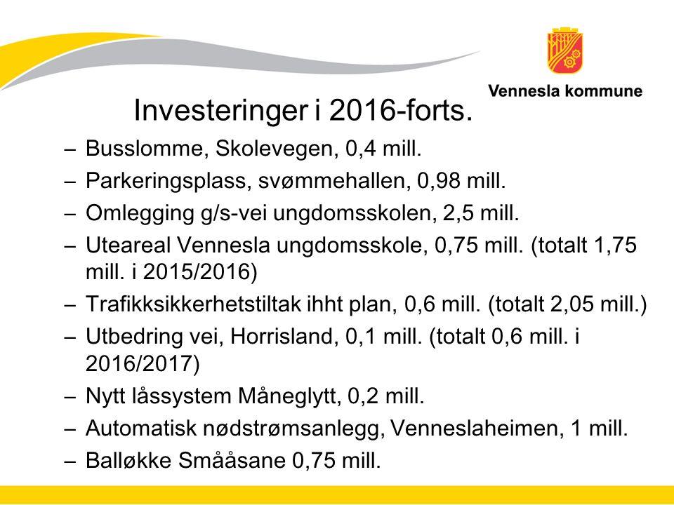 Investeringer i 2016-forts. –Busslomme, Skolevegen, 0,4 mill.