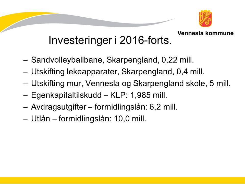 Investeringer i 2016-forts. –Sandvolleyballbane, Skarpengland, 0,22 mill.