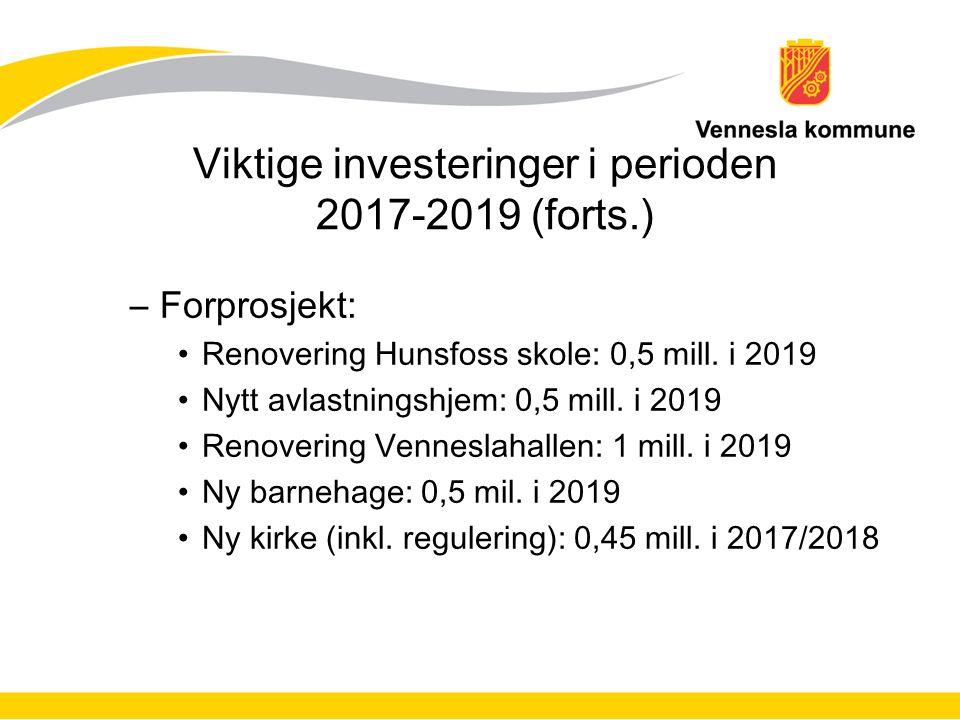 Viktige investeringer i perioden 2017-2019 (forts.) –Forprosjekt: Renovering Hunsfoss skole: 0,5 mill.