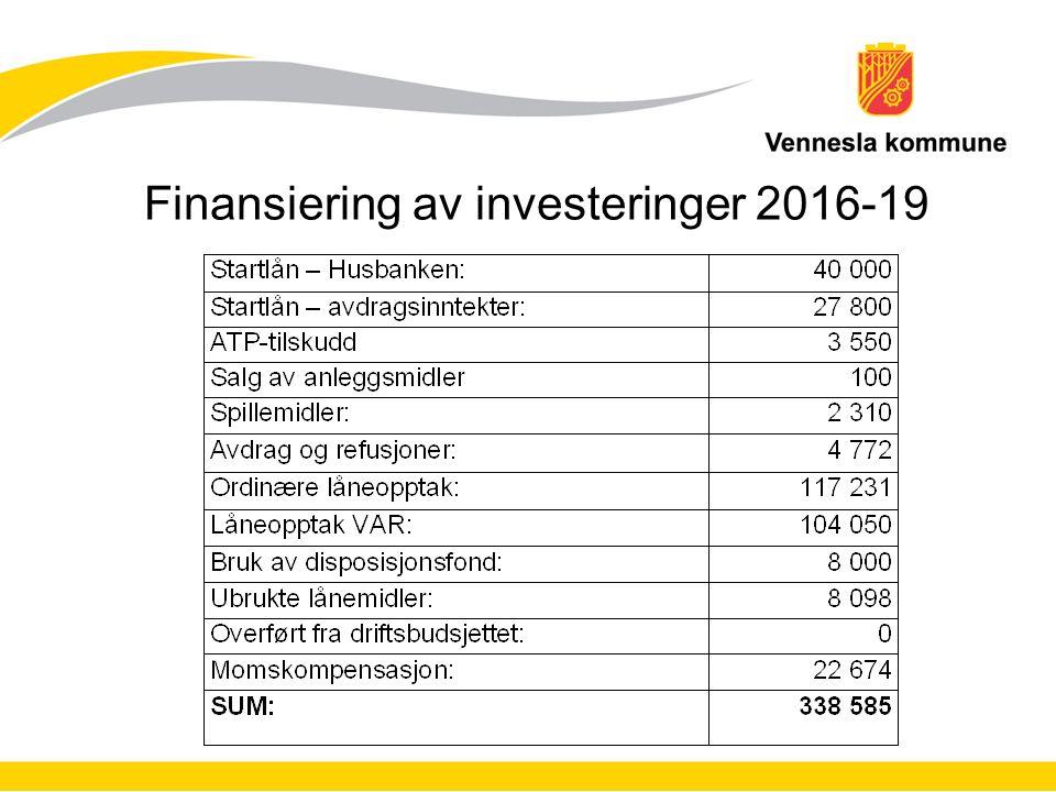 Finansiering av investeringer 2016-19