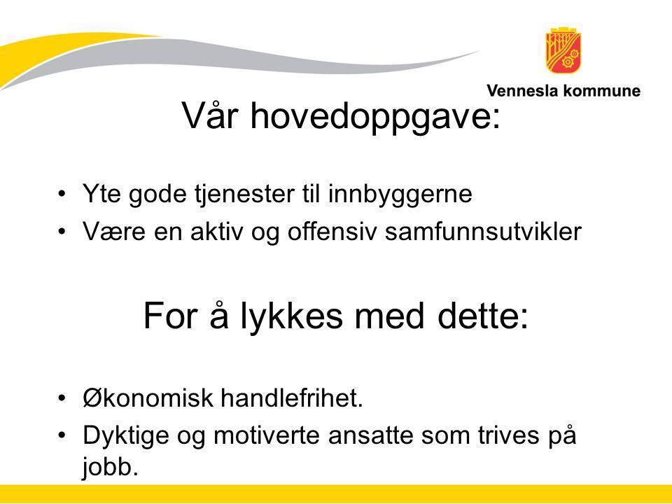 Vår hovedoppgave: Yte gode tjenester til innbyggerne Være en aktiv og offensiv samfunnsutvikler For å lykkes med dette: Økonomisk handlefrihet.