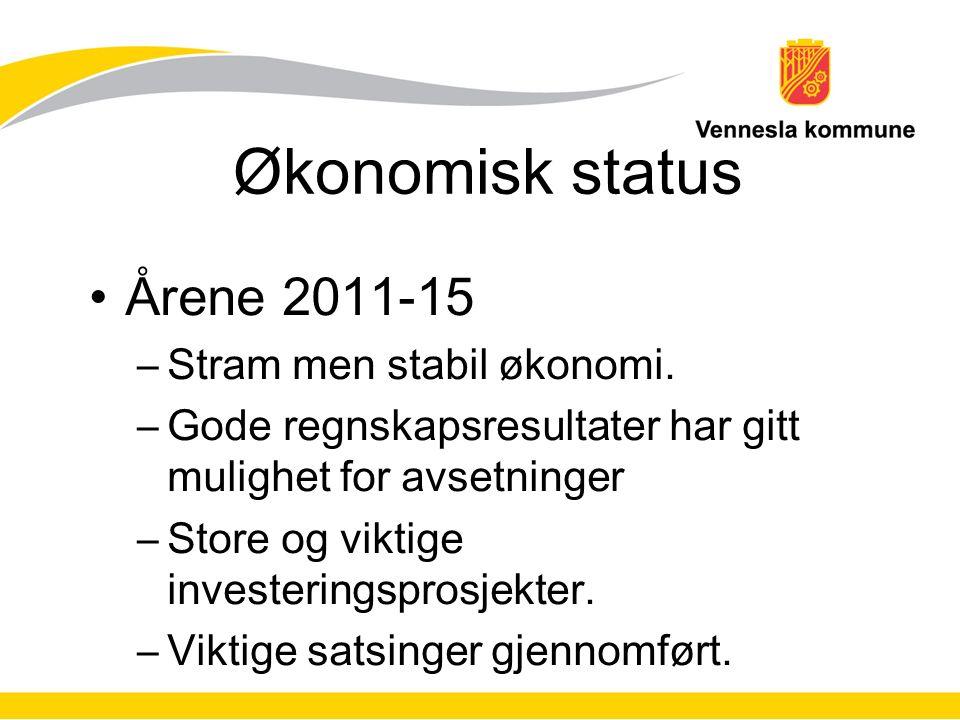 Økonomisk status Årene 2011-15 –Stram men stabil økonomi.