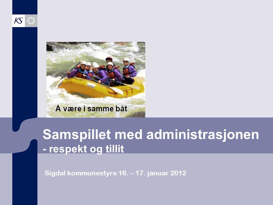 Samspillet med administrasjonen - respekt og tillit Sigdal kommunestyre 16. – 17. januar 2012 Å være i samme båt