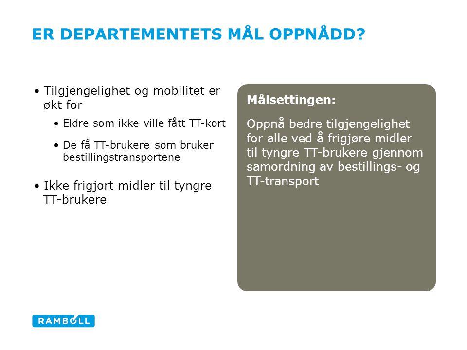 Målsettingen: Oppnå bedre tilgjengelighet for alle ved å frigjøre midler til tyngre TT-brukere gjennom samordning av bestillings- og TT-transport ER D
