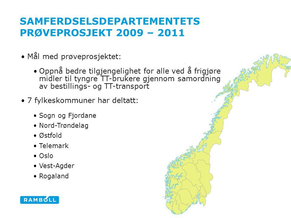 SAMFERDSELSDEPARTEMENTETS PRØVEPROSJEKT 2009 – 2011 Content slide Mål med prøveprosjektet: Oppnå bedre tilgjengelighet for alle ved å frigjøre midler