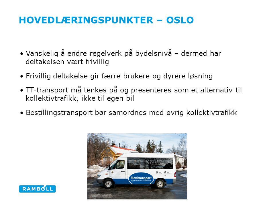 HOVEDLÆRINGSPUNKTER – OSLO Vanskelig å endre regelverk på bydelsnivå – dermed har deltakelsen vært frivillig Frivillig deltakelse gir færre brukere og