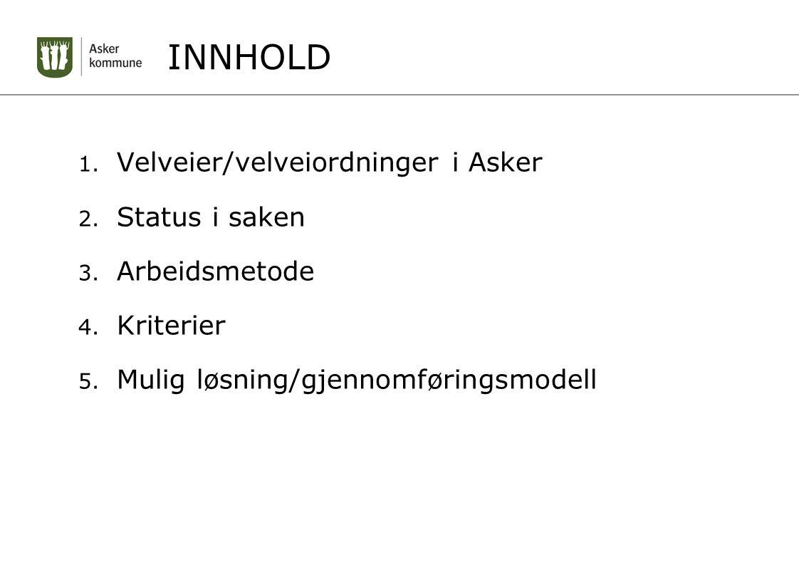 INNHOLD 1. Velveier/velveiordninger i Asker 2. Status i saken 3.