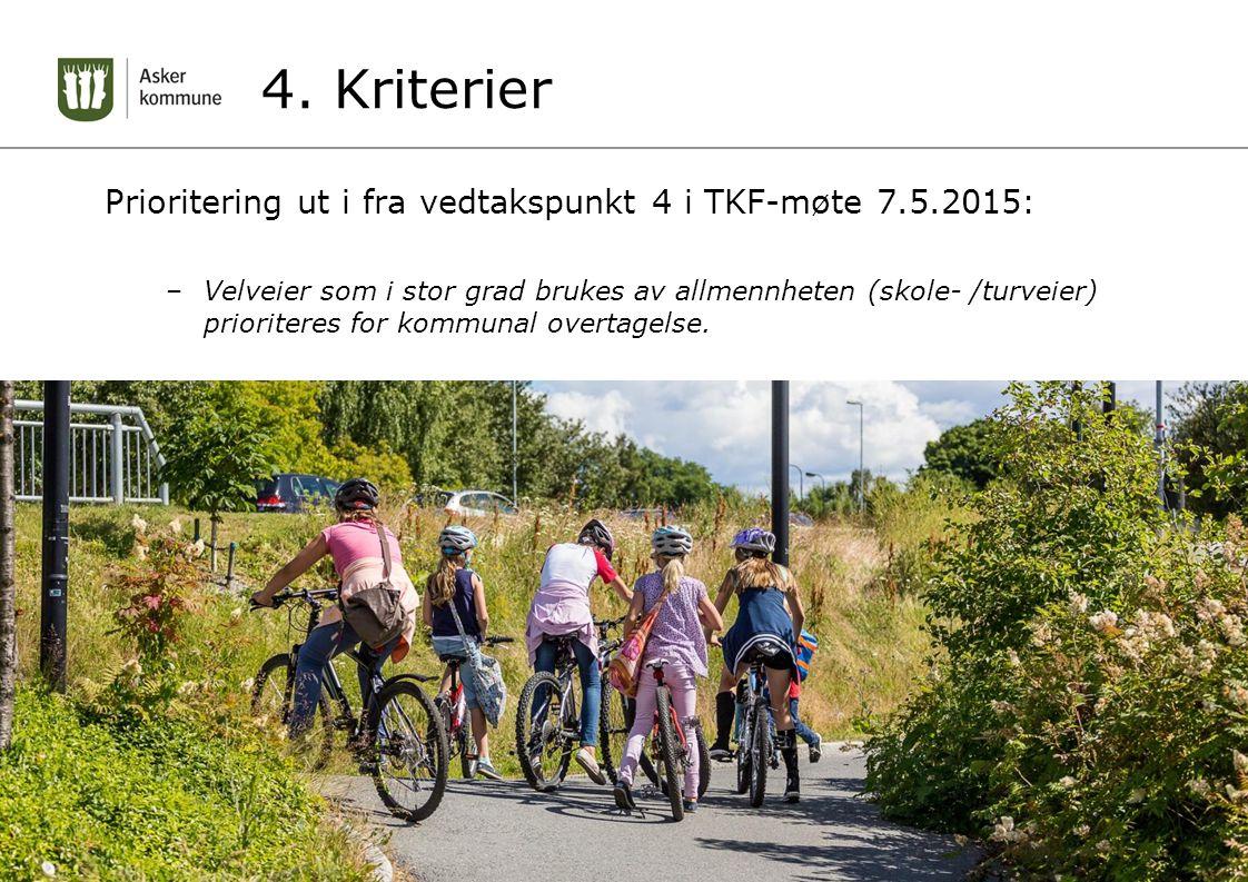 4. Kriterier Prioritering ut i fra vedtakspunkt 4 i TKF-møte 7.5.2015: –Velveier som i stor grad brukes av allmennheten (skole- /turveier) prioriteres