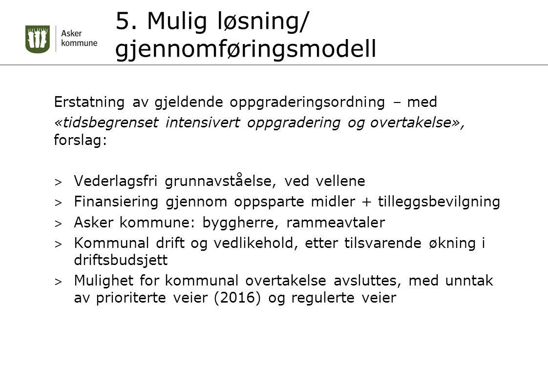 5. Mulig løsning/ gjennomføringsmodell Erstatning av gjeldende oppgraderingsordning – med «tidsbegrenset intensivert oppgradering og overtakelse», for
