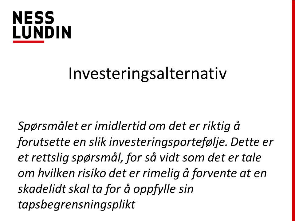 Investeringsalternativ Spørsmålet er imidlertid om det er riktig å forutsette en slik investeringsportefølje.