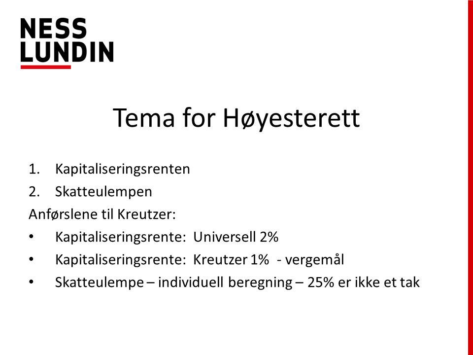 Tema for Høyesterett 1.Kapitaliseringsrenten 2.Skatteulempen Anførslene til Kreutzer: Kapitaliseringsrente: Universell 2% Kapitaliseringsrente: Kreutzer 1% - vergemål Skatteulempe – individuell beregning – 25% er ikke et tak