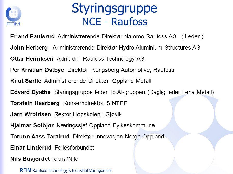 Styringsgruppe NCE - Raufoss Erland Paulsrud Administrerende Direktør Nammo Raufoss AS ( Leder ) John Herberg Administrerende Direktør Hydro Aluminium Structures AS Ottar Henriksen Adm.